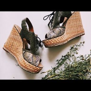 Sam Edelman Snake Skin/Leather Lace-up Wedges